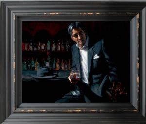 Black Suit, Red Wine framed by Fabian Perez