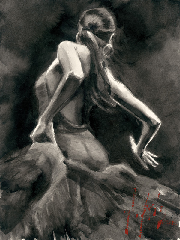 Dancer In Red, study by Fabian Perez