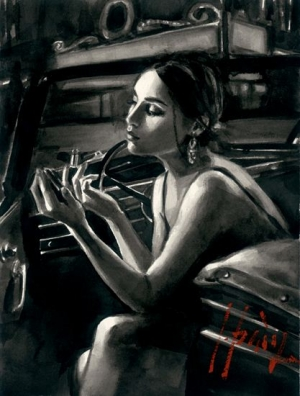 Darya In Car With Lipstick by Fabian Perez