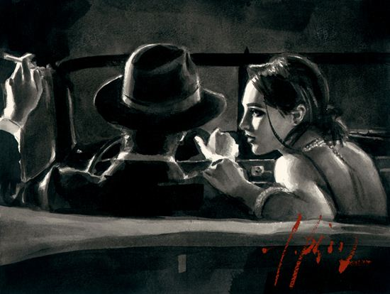 Paco and Darya In Car by Fabian Perez