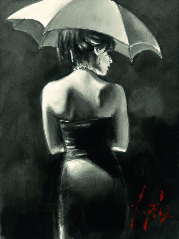 Study for Woman with White Umbrella by Fabian Perez
