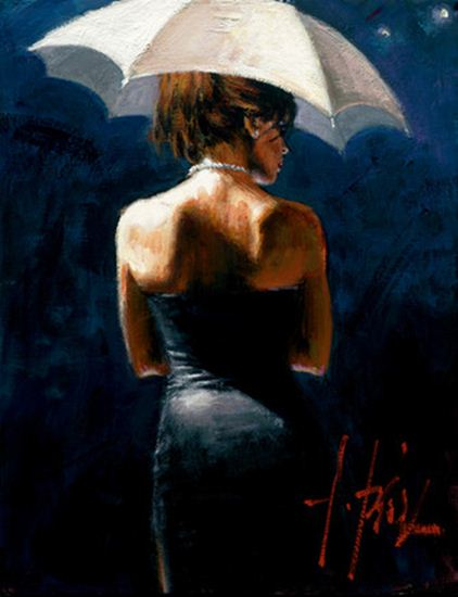 Woman with White Umbrella by Fabian Perez