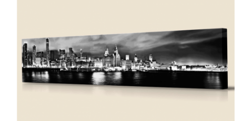 Liverpool Skyline at Night lge bw