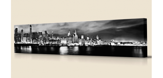 Liverpool Night Wide Black & White by Toni Hughes