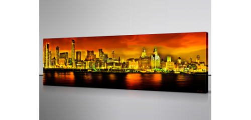 Liverpool Skyline at Night Copper