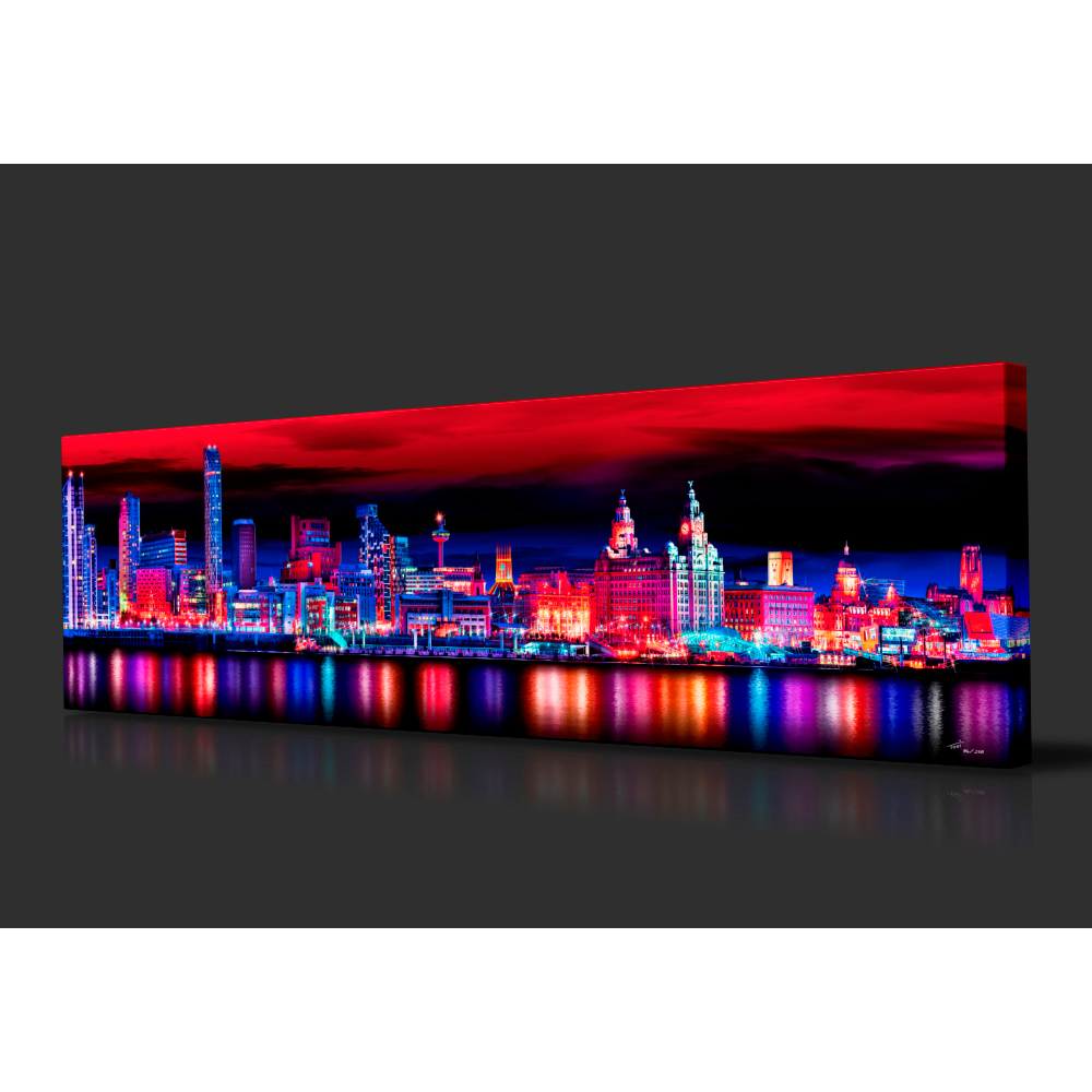 Liverpool Skyline at Night, Red & Blue edition by Toni Hughes