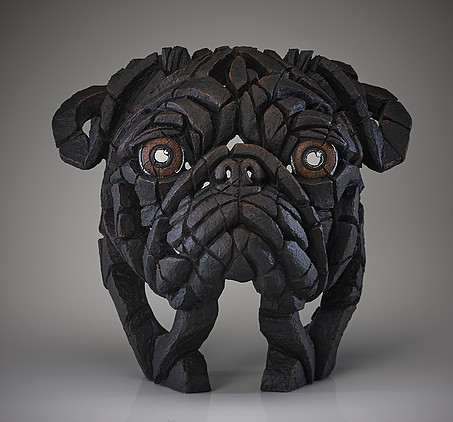 Pug Bust (Black) 2 by Matt Buckley of Edge Sculptures