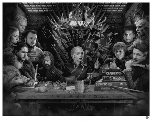 Board Game of Thrones Black & White by JJ Adams
