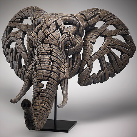 African Elephant Bust Edge Sculpture 2