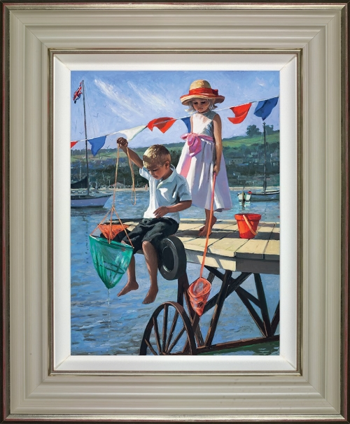 Fishing from the Jetty (framed) by Sherree Valentine Daines
