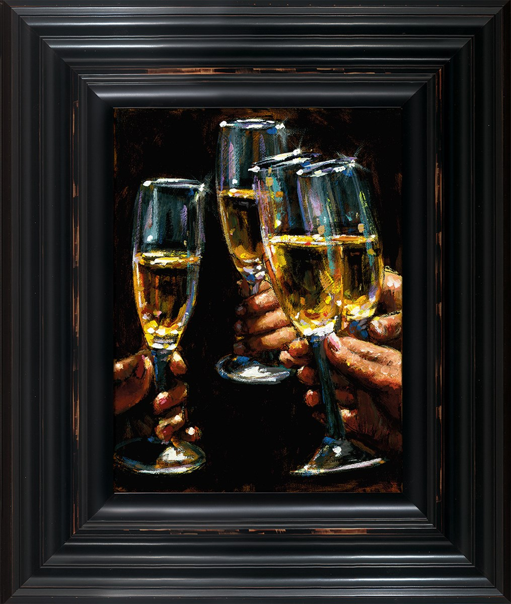 Brindis Con Champagne - Vertical framed by Fabian Perez