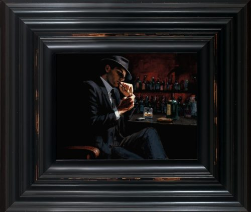 Man Lighting a Cigarette III framed by Fabian Perez