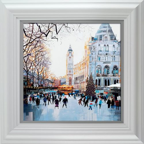 Festive Skaters, Natural History Museum by Tom Butler framed