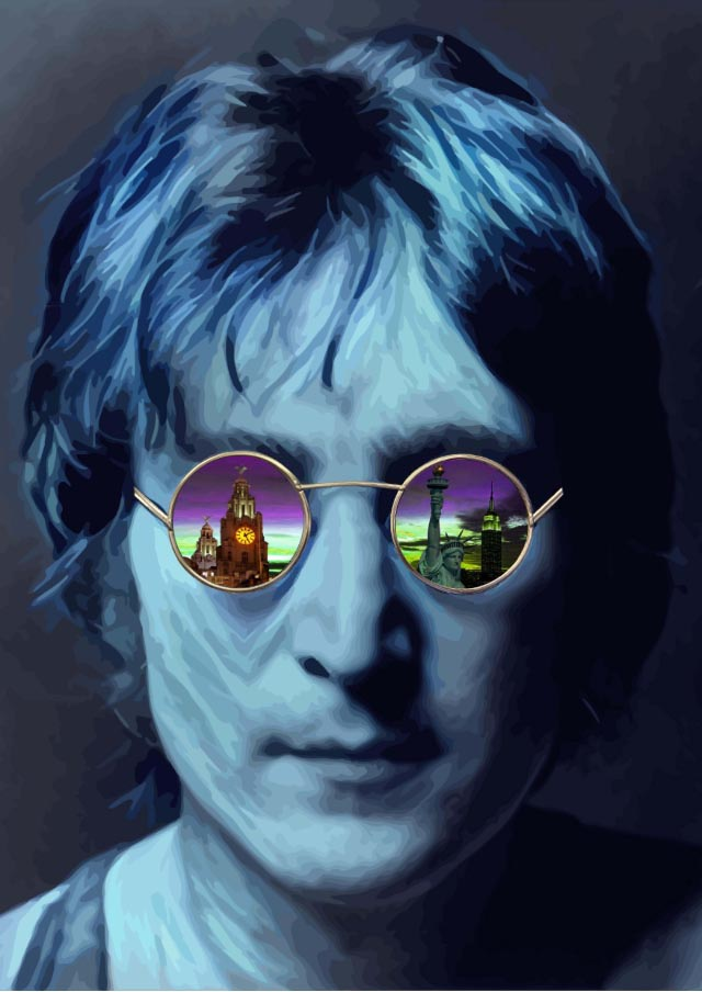 Through the Eyes of Lennon (Small-Blue) by Paul Johnson