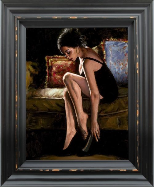 Blue and Red III by Fabian Perez framed
