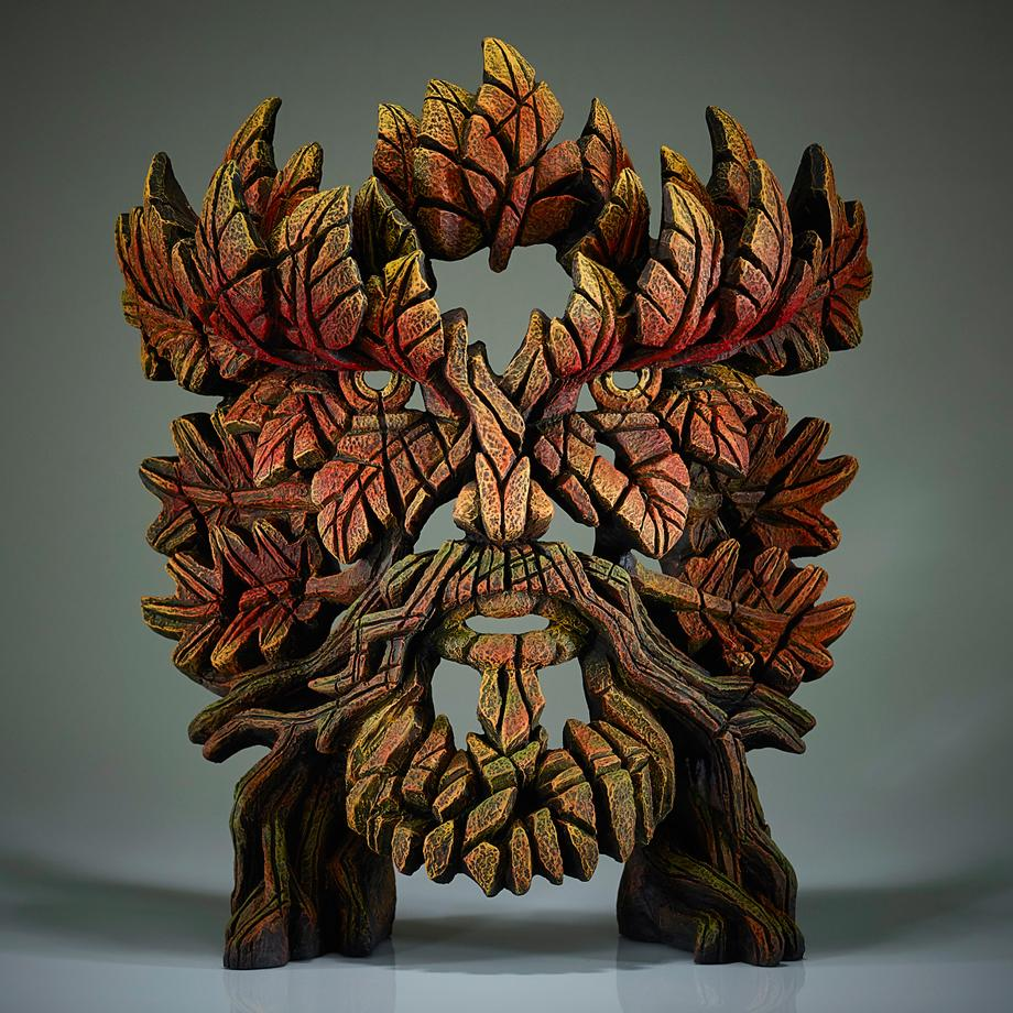 Green Man Bust Autumn Flame by Matt Buckley of Edge Sculptures