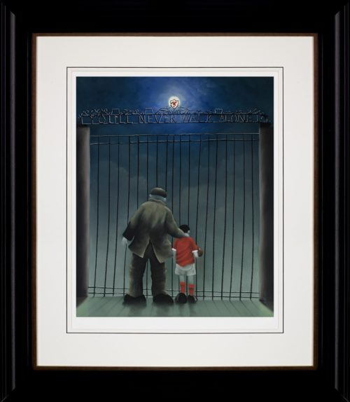 Shankly Gates framed by Mackenzie Thorpe