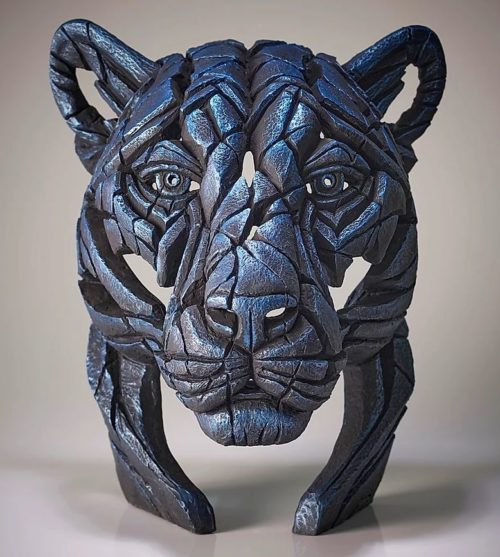 Panther Bust Night Shadow (Metallic Blue) by Matt Buckley of Edge Sculptures