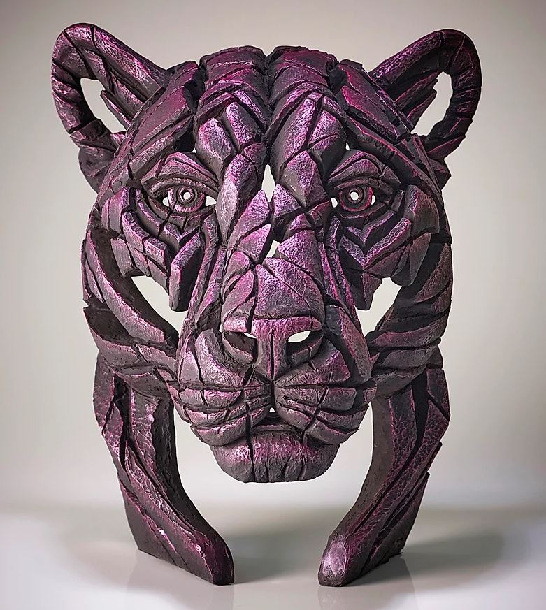 Panther Bust Rinky Dink (Metallic Pink) by Matt Buckley of Edge Sculptures