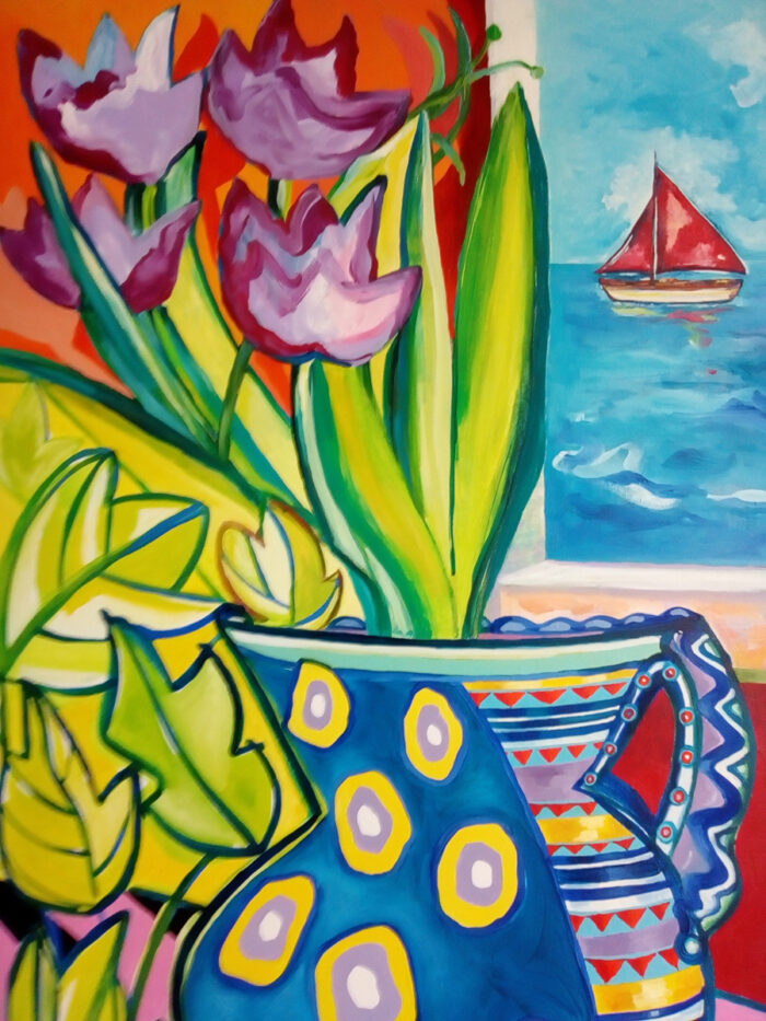 Red Sails and Tulips by Linda Poggio