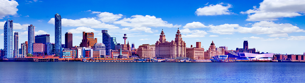 Liverpool Skyline Blue Sky by Toni Hughes