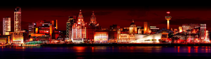 Liverpool Skyline Lava by Toni Hughes