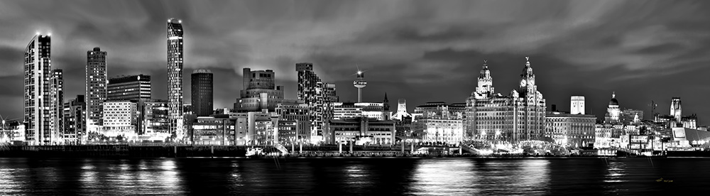 Liverpool Night Black & White by Toni Hughes